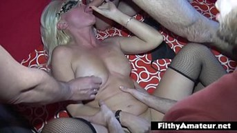 Two moms cougars have orgy with anal squirt and cum shower