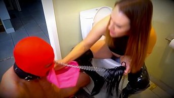the shart cleaner - boss sharts then wipe her filthy ass in her panties and lets slave mouth launder them