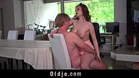 busty young is having sex an old man and drink his sperm