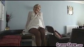 kinky granny teasing her mature pussy