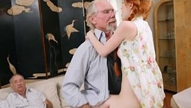 raunchy redhead young dolly little taking on old dink