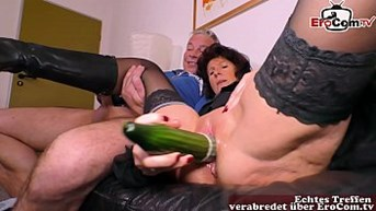 german old ugly housewife fucks with a cucumber at casting