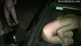 nice young young blond girl public gangbang through car window