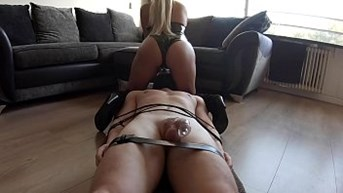 chastity bound slave gets mocked and cums in minutes then creampie fed