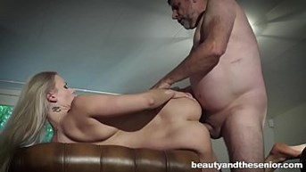 Blonde Katy Sky seduces old man Philippe Soine to fuck her