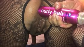 pov homemade filming of my girlfriend closeup on my iphone - watch the dirty british whore ramming a big bottle of hair spray deep in her ass and squirting