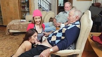 Dirty Old Man Sucked Off By Two Teens At Once