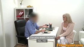 fake agent hot blonde model likes cock over the desk with her sus