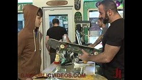 hot crowd fuck stud in skate shop