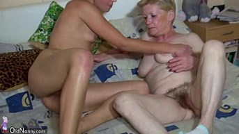 OldNanny Granny with full of hair pussy young girl and toys