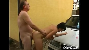 Breathtaking amateur babe gives an old man a steamy blowjob