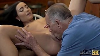 DADDY4K. Grey-haired dad makes love to his sons chick Anna Rose in his own bar