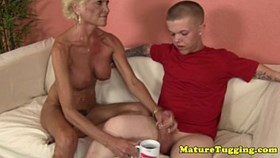 naked tugging grannys midget cream for coffee