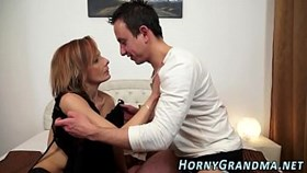 Oma anal creampied