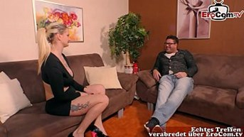 chubby blonde german girl with big natural tits at casting