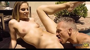 DADDY4K. Mature guy meets sons girl in the pool and seduces for sex