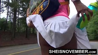 American Ebony Blowjob In Public And Nudist Walk Flashing Big Tits Pussy And Ass