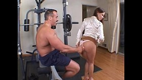 hot brunette with a nice rack banged up the ass in the gym