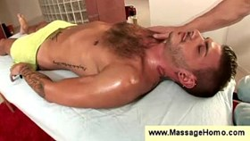 Gay masseur almost strokes a hunks balls