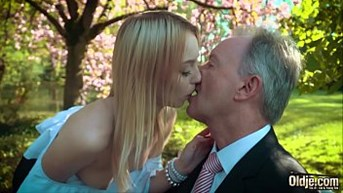 young blonde moaning having sex an old man she swallows his cumshot