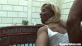 blonde mature melissa q sucking and having sex young cock