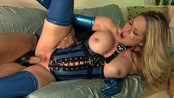 having sex in shiny latex lingerie and high heels