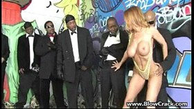 two black cocks force their way into blondes holes