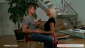 blonde girl in glasses emma starr gives titjob