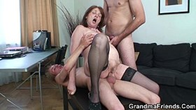 threesome office having sex with granny