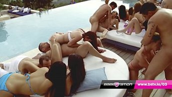 huge girlstation euro orgy in ibiza