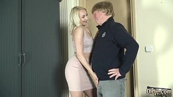 young sex with old man she gets pussy fucked and facial cum