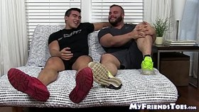 Bearded bear tugs his small cock while licking sexy feet