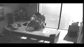 security camera films sex at office on desk