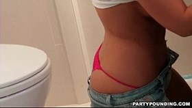 hot couple sneaks to bathroom for a blowj