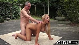 old and young sex - bustyyoung gets wet and sucks grandpa