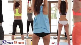 elastic cuties sharing long cock of trainer in gym