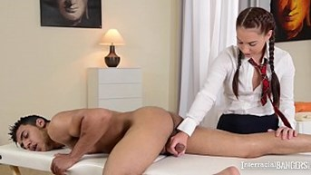 interracial bangers young jenny handjobs dark man meat at the massage school