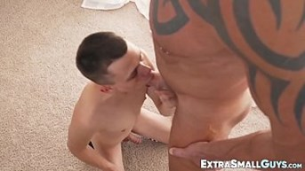 Tiny youngster strokes his cock while riding huge dick