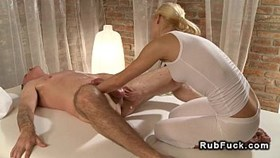 blonde tight masseuse giving cock massa