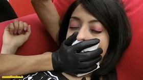 brunette chloroformed put in bondage and handsmothered by a masked wom