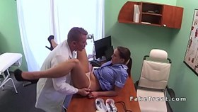 doctor licks and fucks brunette nurse