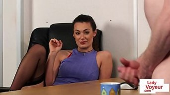 office lady instructs till cum to jerk.