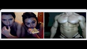 two sexy girls playing with muscle guy