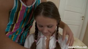 pigtailed young liza gets ass fucked and cumm