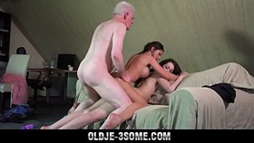 grandpa fucks youngies sweet girls in bedroom threesome with cum sharing