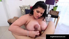 cuban bbw, angelina castro gives her trainer a hot blow jo