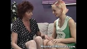 granny goes lesbian with sexy milf