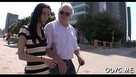 aged man gets his old dick juicy by having sex a younger chick