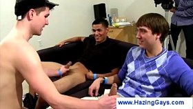 Loser gets dared to wank two gays cocks