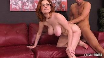 voluptuous redhead young with big tits gets pounded hard in a live sex show